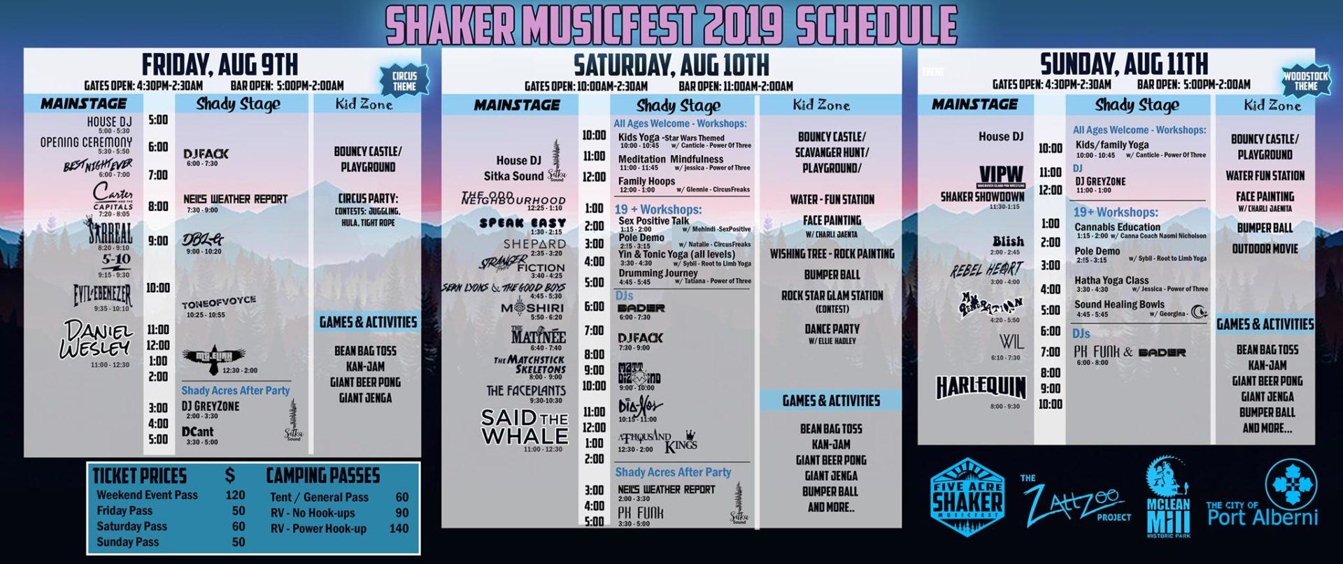 Five Acre Shaker full schedule