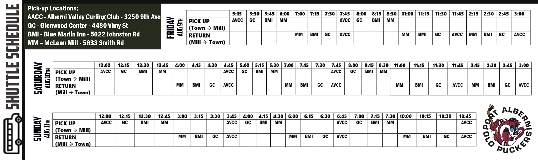 Table of Shuttle Times